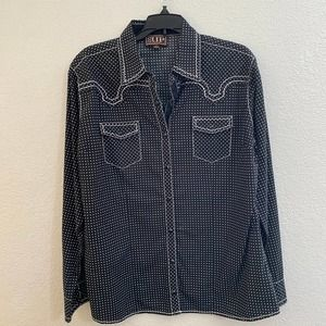 Cowgirl Up black  white dotted western button down